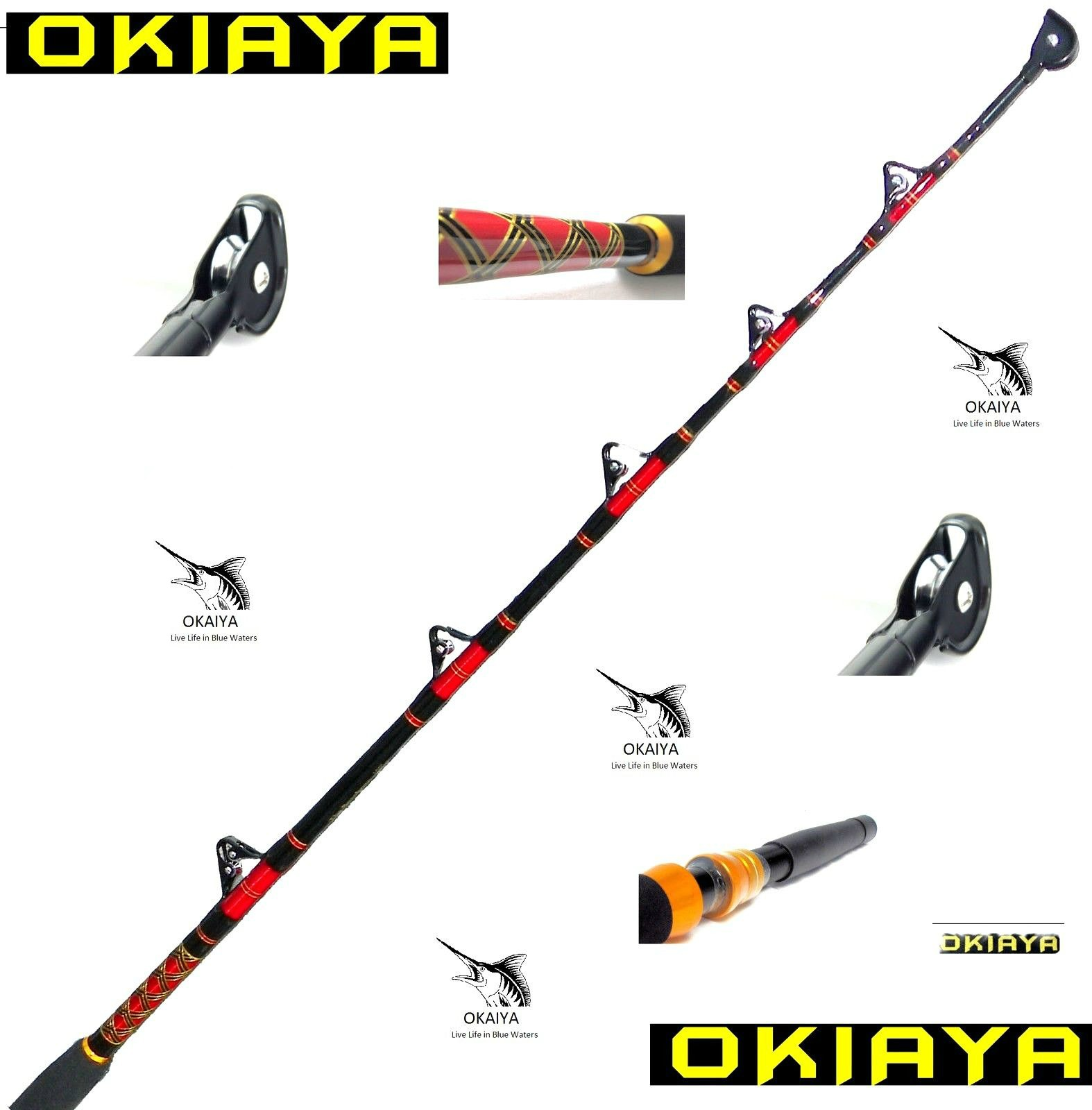 Okiaya saltwater fishing rods 80 130lb for Fishing pole guides